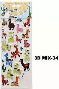 Cartela Adesiva 3D MIX-34