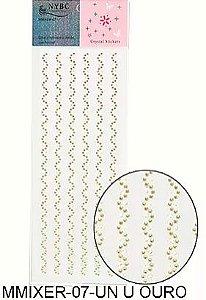 Cartela Adesiva Pedrinhas MMIXER - 07 Ouro