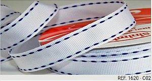 Fita Decorativa Pesponto n°9 SINIMBU - 02 Branco c/ Azul