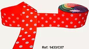 Fita Decorativa com Poá n°9 SINIMBU - C07 Vermelho c/ Branco