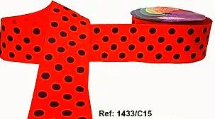 Fita Decorativa com Poá n°9 SINIMBU - C15 Vermelho c/ Preto