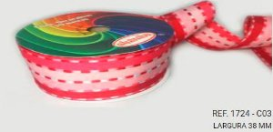 Fita Decorativa Listrada n°9(38mm) SINIMBU - C03 Tons de Rosa