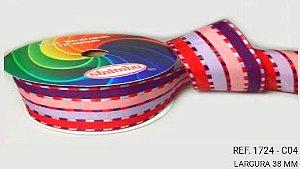 Fita Decorativa Listrada n°9(38mm) SINIMBU - C04 Rosa/Lilás/Vinho/Roxo