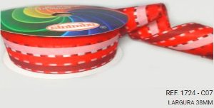 Fita Decorativa Listrada n°9(38mm) SINIMBU - C07 Vermelho/Vinho/Rosa