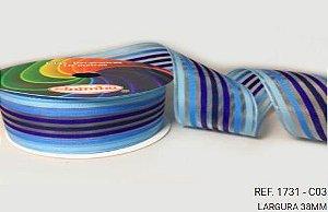 Fita Decorativa Organza Listrada n°9(38mm) SINIMBU - C03 Tons de Azul