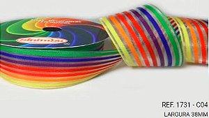 Fita Decorativa Organza Listrada n°9(38mm) SINIMBU - C04 Arco Íris Escuro