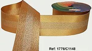 Fita Decorada Gorgurão com Cetim 38mm Sinimbu - 1148 Ouro