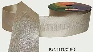 Fita Decorada Gorgurão com Cetim 38mm Sinimbu - 1643 Champanhe