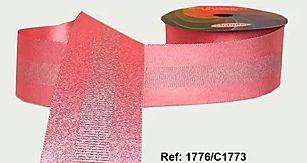Fita Decorada Gorgurão com Cetim 38mm Sinimbu - 1773 Rosa