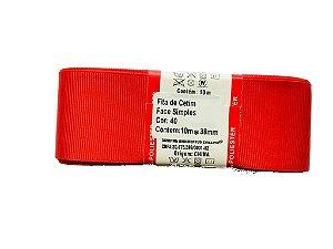 Fita de Gorgurão Sanding n°9(38mm) 10metros - Cor 40 Vermelho