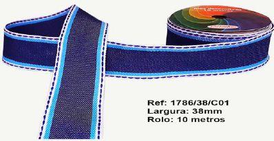 Fita Decorativa Jeans Tons de Azul SINIMBU 38mm C-01