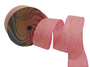 Fita Decorativa Juta C-07 Rosa Neon/Cru