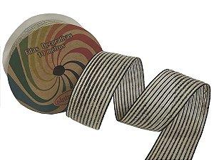 Fita Decorativa Juta C-12 Preto/Cru
