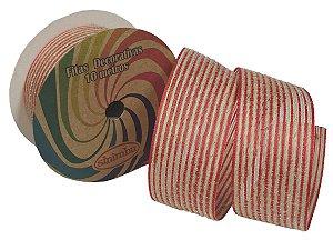 Fita Decorativa Juta C-06 Vermelho/Cru
