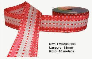 Fita Decorativa Listrada com Brilho (38mm) - C03 Tons Rosa