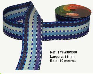 Fita Decorativa Listrada com Brilho (38mm) - C08 Tons Azul