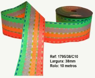 Fita Decorativa Listrada com Brilho (38mm) - C10 Tons Neon