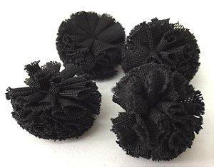 Pompom de Malha Tecido (2cm) c/10 un - Preto
