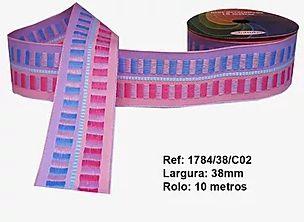 Fita Decorativa Retangular (38mm) - C02 Tons Rosa com Azul Bebê