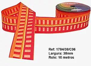 Fita Decorativa Retangular (38mm) - C06 Tons Laranja com Vermelho