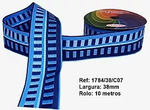 Fita Decorativa Retangular (38mm) - C07 Tons Azul