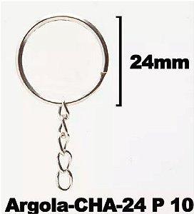 Argolas Para Chaveiro 24mm c/Corrente - 10 unidades Prata