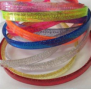 Tiara Transparente com Glitter Sortidas c/12 unidades