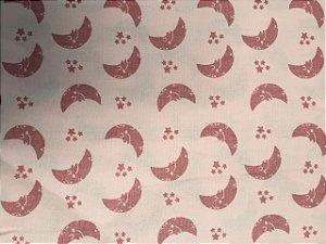 Tecido Tricoline Estampado Lua Rosa (Meio Metro)