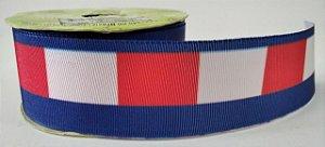 Fita de Gorgurão Grife Azul/Branco/Vermelho 738