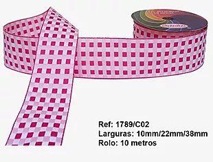 Fita Xadrez Sinimbu n°9 (38mm) - 02 Tons Rosa
