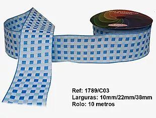 Fita Xadrez Sinimbu n°9 (38mm) - 03 Tons Azul