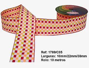 Fita Xadrez Sinimbu n°9 (38mm) - 05 Laranja/Vermelho/Amarelo