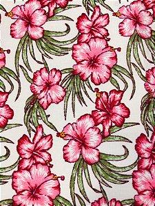 Tecido Tricoline Estampado Floral Caule Verde (Meio Metro)