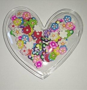 Aplique Plástico Transparente Coração Florzinhas