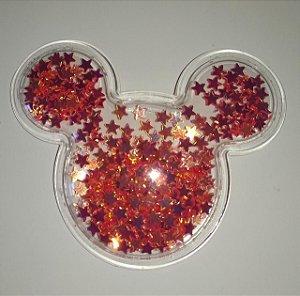 Aplique Plástico Transparente Mickey Vermelho