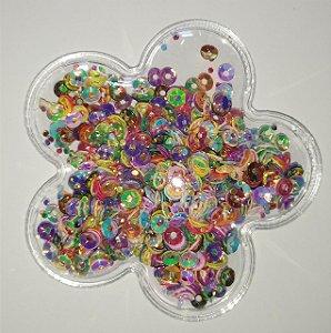 Aplique Plástico Transparente Flor Brilho