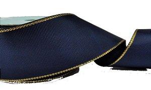 Fita de Gorgurão Borda Dourada Azul Marinho
