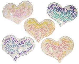 Aplique Coração Lantejoula Brilhosa - Pacote c/ 5 unidades