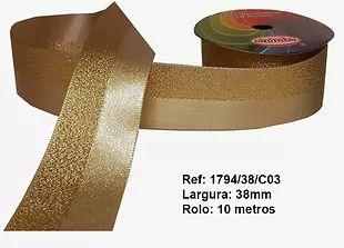 Fita Decorativa Dupla Lurex com Cetim 38mm Sinimbu - 03 Ouro