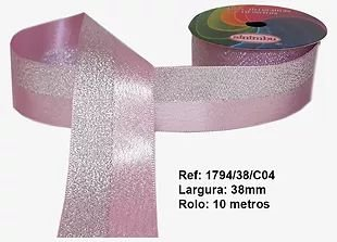 Fita Decorativa Dupla Lurex com Cetim 38mm Sinimbu - 04 Rosa