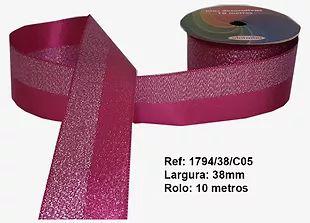 Fita Decorativa Dupla Lurex com Cetim 38mm Sinimbu - 05 Pink