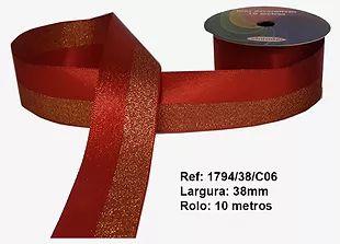 Fita Decorativa Dupla Lurex com Cetim 38mm Sinimbu - 06 Vermelho