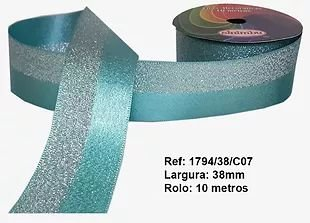 Fita Decorativa Dupla Lurex com Cetim 38mm Sinimbu - 07 Tiffany