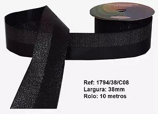 Fita Decorativa Dupla Lurex com Cetim 38mm Sinimbu - 08 Preto