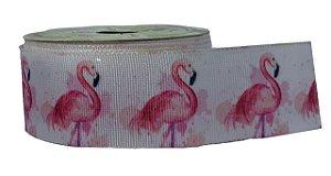 Fita de Gorgurão Flamingo Rosa Fundo Branco 1374