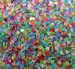 Aplique Glitter Micro Corações - Pacote com 10g