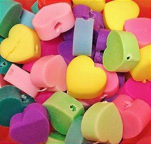 Miçangas Entremeio Emborrachado Coração Liso  - Pacote c/ 20 Unidades