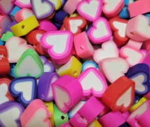 Miçangas Entremeio Emborrachado Coração - Pacote c/ 24 Unidades
