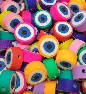 Miçangas Entremeio Emborrachado Olho Grego Colorido - Pacote c/ 20 Unidades