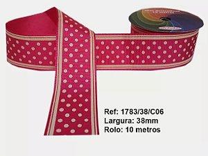 Fita de Gorgurão Poá com Listras Pink 06